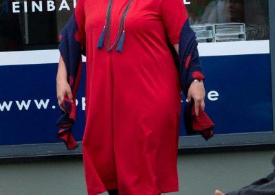 Rotes A–Linie–Kleid bügelfrei, Kofferware